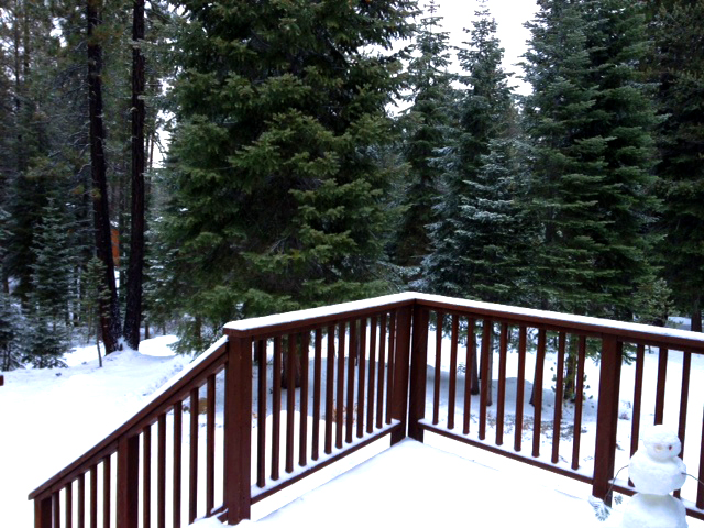 First Snow at Wildhorn Cabin in Tahoe Donner